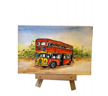Hand Painted Mini Canvas Kolkata Red Bus