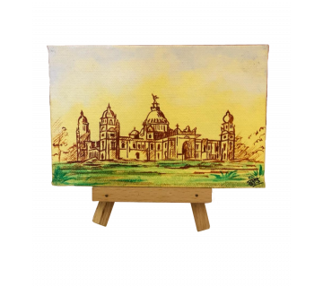 Hand Painted Mini Canvas  Kolkata Calcutta Victoria Memorial