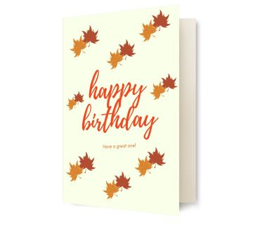 Happy Birthday Greetings Card Leaves