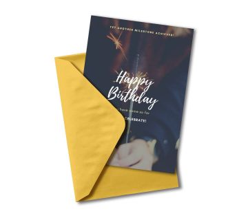 Happy birthday Greetings Card let's Celebrate Firewarks