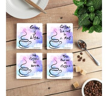 Coffee Lover  Coffee Coasters Quotes ( Set of 4 )