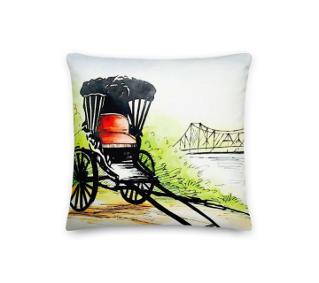 Cushion Cover Rickshaw Painting