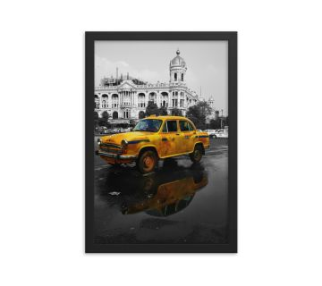 Yellow Taxi Old Kolkata Framed Wall Art