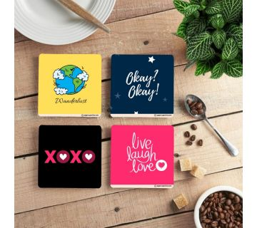 Love Coffee Coasters Quotes ( Set of 4 )