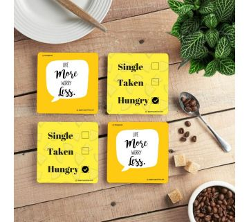 Live More Worry Less Coffee Coaster (set of 4)
