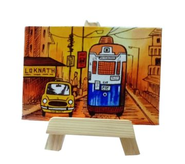 Hand Painted Mini Canvas- Tram Taxi