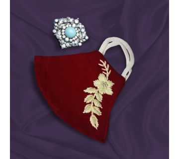 Cotton Mask Hand Embroidered for Wedding and Festivity Maroon