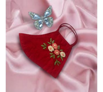 Cotton Mask Hand Embroidered for Wedding and Festivity