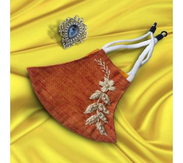 Cotton Mask Hand Embroidered for Wedding and Festivity Yellow