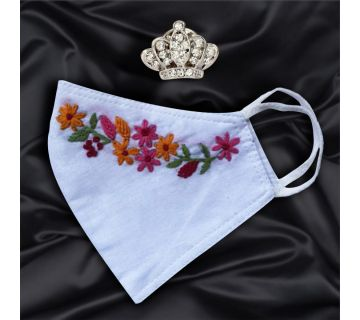 Cotton Mask Hand Embroidered for Wedding and Festivity white