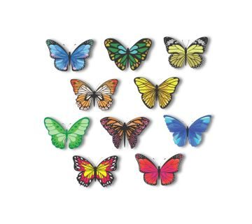 butterfly Series Profile Cut Magnetic Bookmark Set of 10