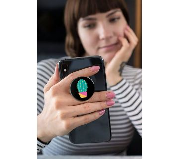 Pop Socket Expanding Stand and Grip for Smartphones-Green Cactus